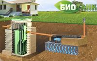 Вариант монтажа септика БИОТАНК с фильтрационным полем. Подходит при условии низкого уровня грунтовых вод (ниже 1 метра)