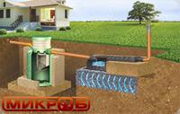Схема монтажа септика МИКРОБ с фильтрационным полем. Подходит для монтажа с низким уровнем грунтовых вод (ниже 1,5 м.) и впитывающими грунтами