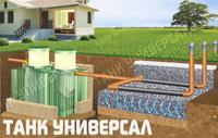 Вариант монтажа септика ТАНК УНИВЕРСАЛ с фильтрационным полем, через перфорированные трубы. Подходит при условии низкого уровня грунтовых   вод (ниже 1 метра)