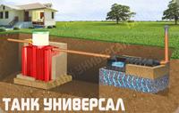 Схема монтажа септика Танк Универсал с фильтрационным полем. Подходит для монтажа с низким уровнем грунтовых вод (ниже 1,5 м.) и   впитывающими грунтами